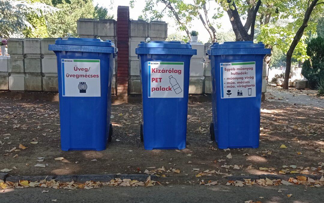 Szelektív hulladékgyűjtést vezettünk be a temetőben